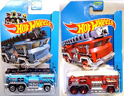 Set of 2 Fire Trucks Hot Wheels 5 Alarm Blue and Red Fire Engine Variant 2014 HW Rescue City Series 1:64 Scale Collectible Die Cast Metal Toy Car Models
