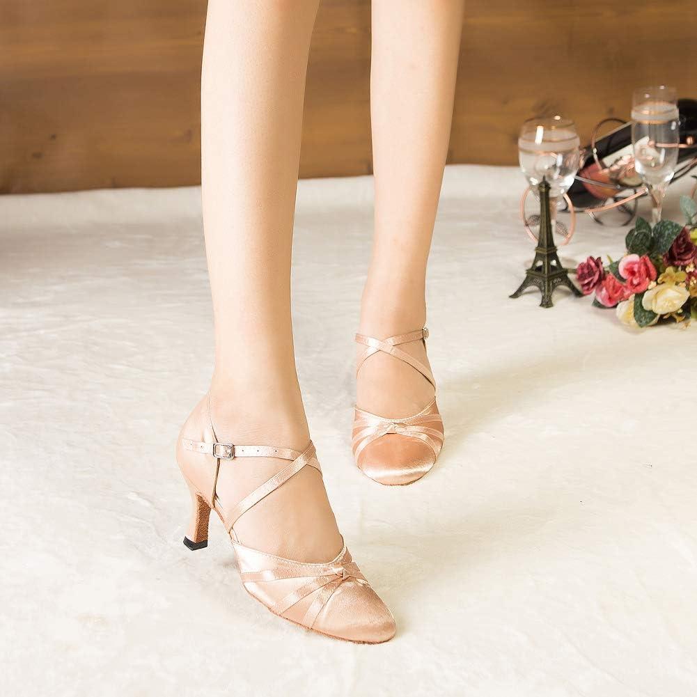 HROYL Femmes Ferm/é Toe Talons Hauts Satin Mesh Salsa Latin Tango Chaussures De Danse De Salon,516//189