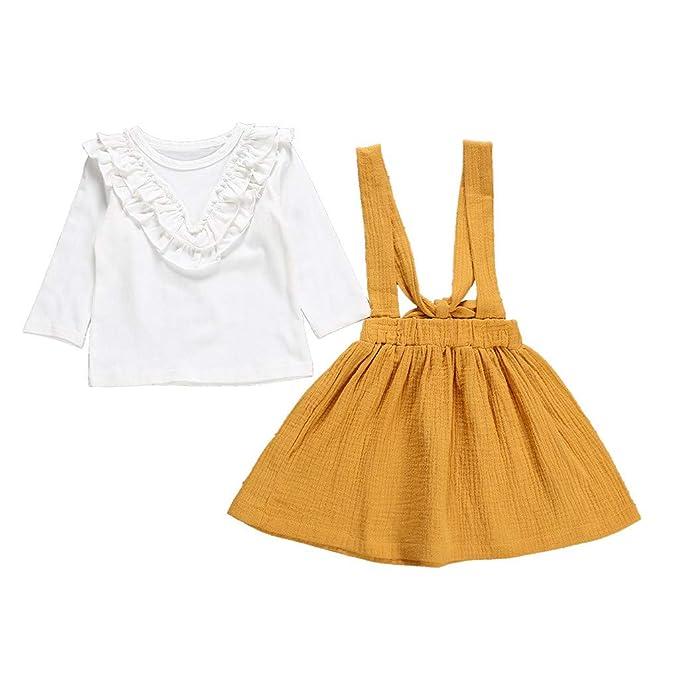 Subfamily Vestido Manga Larga bebé, 2PCS Camiseta de Manga Larga para niños pequeños para bebés y niños pequeños Falda Ropa Trajes: Amazon.es: Ropa y ...