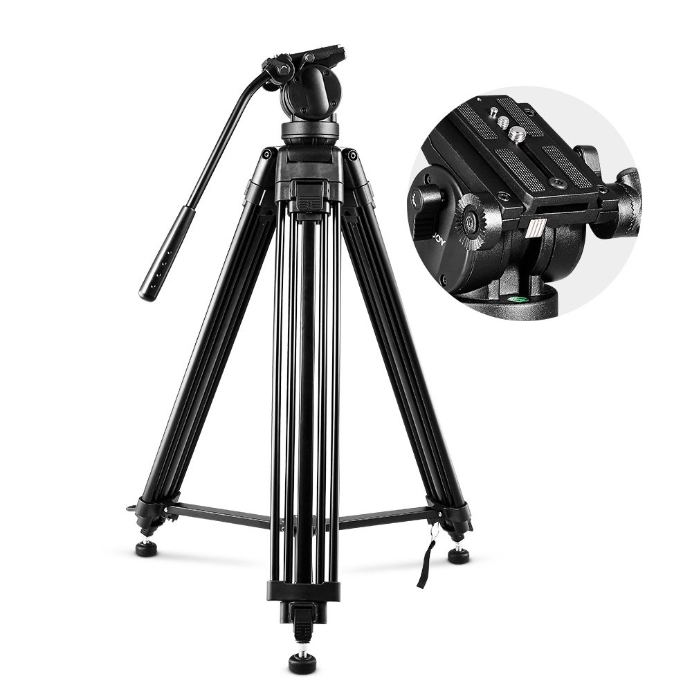 COOCHEER Professional Video Tripod, Heavy Duty Tripod System with 360 Degree Fluid Drag Video Head, 1/4'' and 3/8'' QR Plate and Bubble Level, Max Loading 33lbs and Height 61''