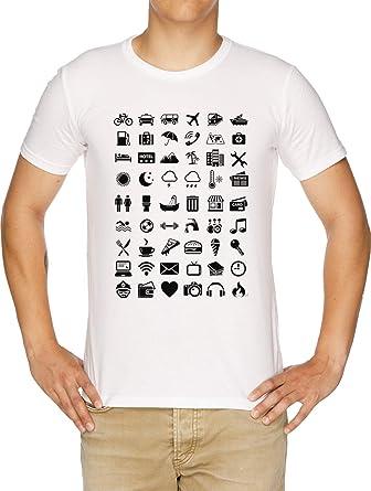 Viajar Iconos Idioma Camiseta Hombre Blanco: Amazon.es: Ropa y accesorios