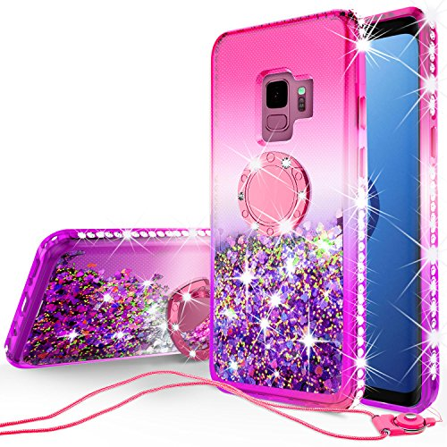 SOGA Rhinestone Glitter Bling Liquid Floating Cute Phone Case Compatible for Samsung Galaxy S9 Case with Embedded Metal Ring for Magnetic Car Mounts and Lanyard Diamond Bumper - Purple on Pink