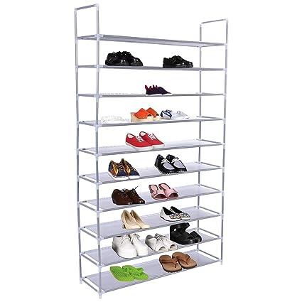NEW 50 Pair 10 Tier Space Saving Storage Organizer Free Standing Shoe Tower  Rack