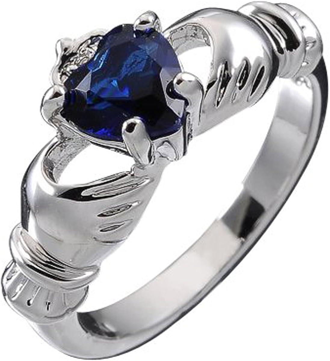 GWG Jewellery Anillos Mujer Regalo Anillo de Claddagh Plata de Ley Dos Manos Que Rodean Corazón de Circonita de Color Zafiro Azul con Corona para Mujeres