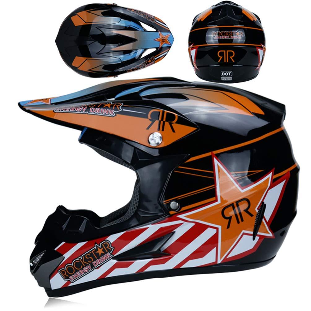 Qianliuk Top ABS Motobiker Casco Moto Racing Casco Off-Road Descenso monta/ña Casco Adecuado para Adultos con Gafas