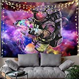 Hexagram Astronaut Tapestry Wall Hanging Hippie Colorful Spaceman Tie Dye Tapestry Bohemian Trippy Tapestry Fantasy Space Wall Tapestry for Bedroom Living Room Dorm Decorations