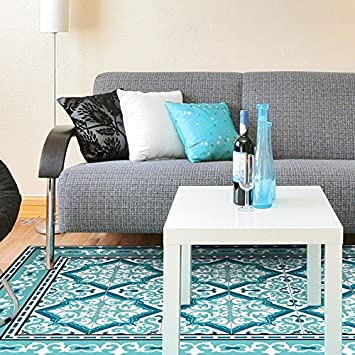 tapis vinyle arabesque turquoise 120 x 170 cm - Tapis Vinyl Cuisine