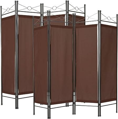 TecTake - Biombo de 4 partes, mampara divisoria para separar espacios, 180 x 160 cm, de varios colores y partes, 2x Braun | Nr. 401831, 1x Weiß | Nr. 401660: Amazon.es: Hogar