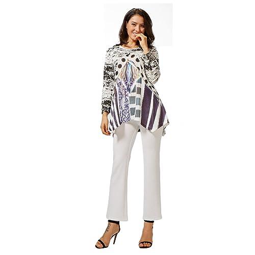 Sybell Las mujeres de moda de manga larga vestido ocasional de la blusa superior con chaleco PB-1608...