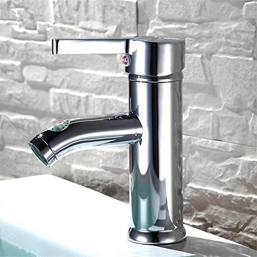 Yadianna Bathroom Sink Mixer Tap Hot and Cold Water Single Lever Brass Taps for Bathroom Sink