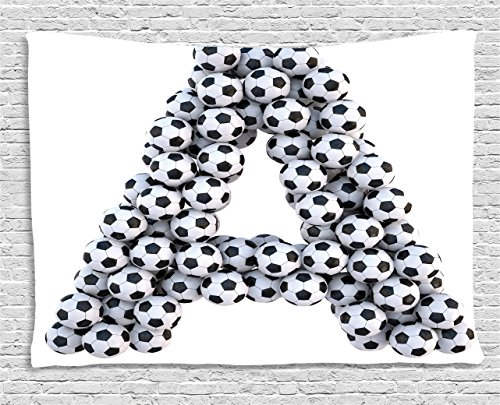 Letter A Tapestry by Ambesonne, Realistic Soccer Balls in form of Capital A Sports Play League Competition Theme, Wall Hanging for Bedroom Living Room Dorm, 60 W X 40 L Inches, Black White (Wall Hanging Letters Sports)