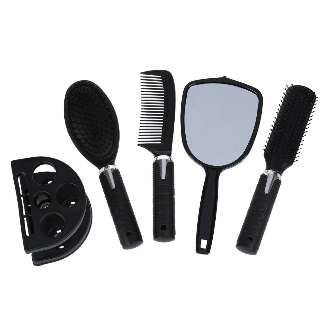 Hair Comb Mirror Holder Set - SODIAL(R) 5x Woman Lady Hair brush massage comb mirror set with mirror and support SPAGT46477