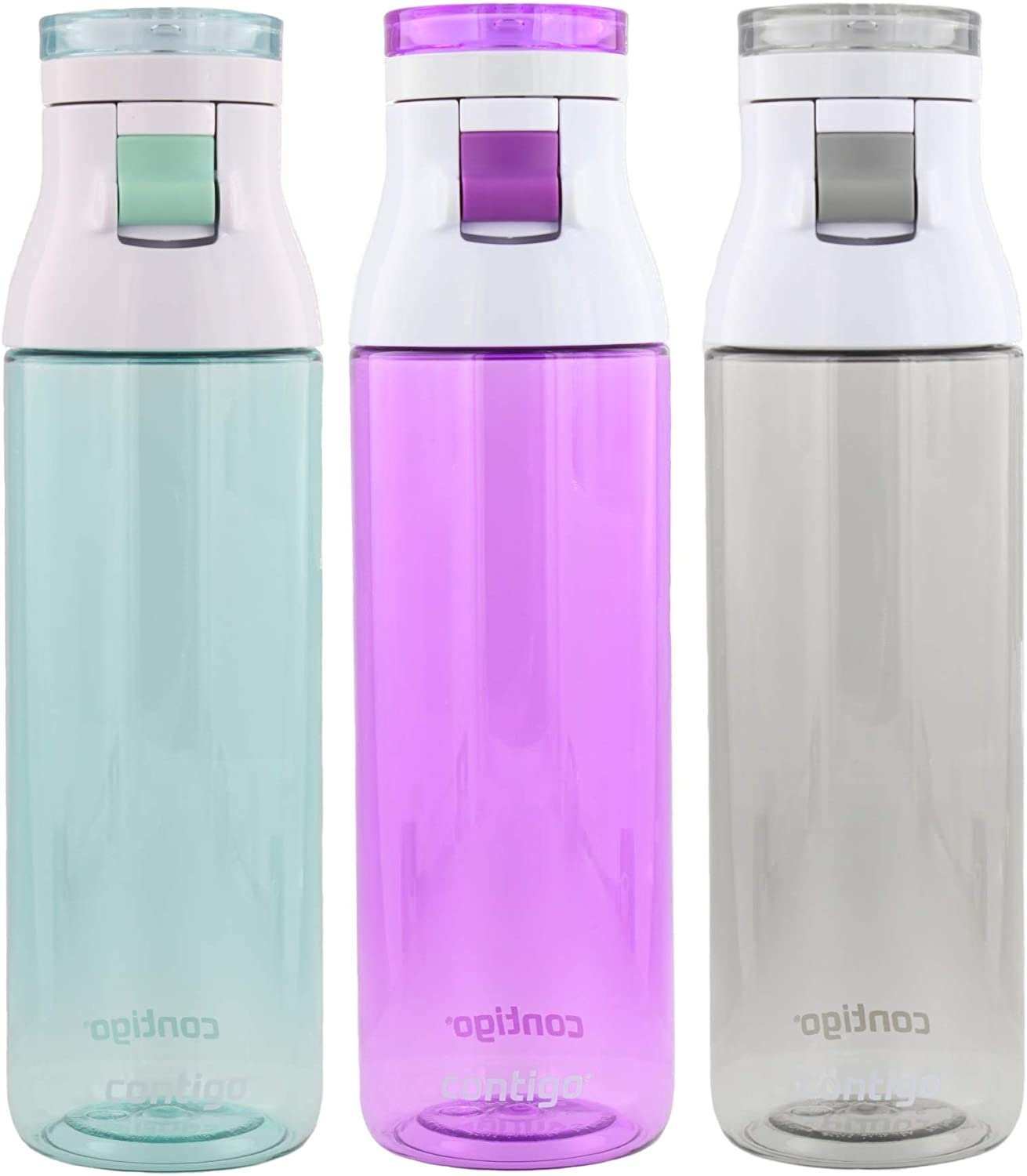 Contigo Jackson Reusable Water Bottle – BPA Free, Easy Push Button, Carry Loop - Top Rack Dishwasher Safe - Great for Sports, Home, Travel- 24oz, Greyed Jade, Radiant Orchid & Smoke (3pk)