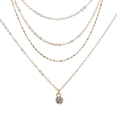 d5db103fb99 Amazon.com: Beydodo Triple Layer Necklaces Women Gold Plated Y Necklace  Choker Chain Necklace: Jewelry