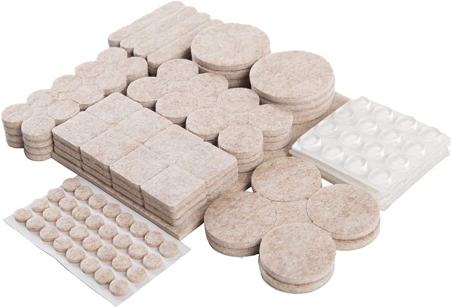 Beige Furniture Felt Pads,217 Pcs Furniture Grippers for Hardwood Floors, Self Adhesive Clear Bumper Pads, Anti Scratch Floor Protectors, Used for Chair Legs Feet Tile Wood Floor