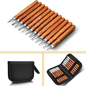 Wood Carving Tools, Adevena 12 Set SK2 Carbon Steel Sculpting Knife Kit for  Beginners & Professions
