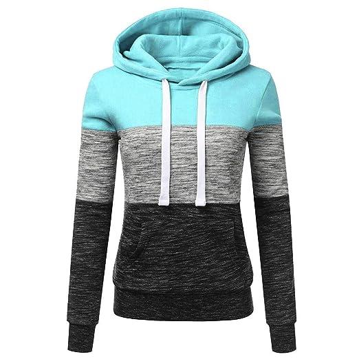 Toasye Frauen Herbst Winter Langarm Farbe Patchwork Crop Top, Damen Casual Streifen Hoodie Pullover Sweatshirt