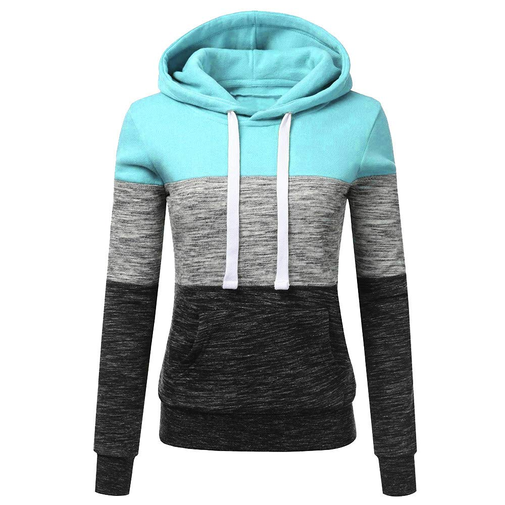 STORTO Womens Casual Color Block Hoodies Sweatshirt Patchwork Drawstring Pullover Tops (S, Blue)