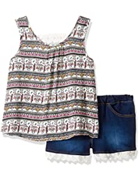 Limited Too Big Girls' 2 Piece Printed Gauze and Stretch...