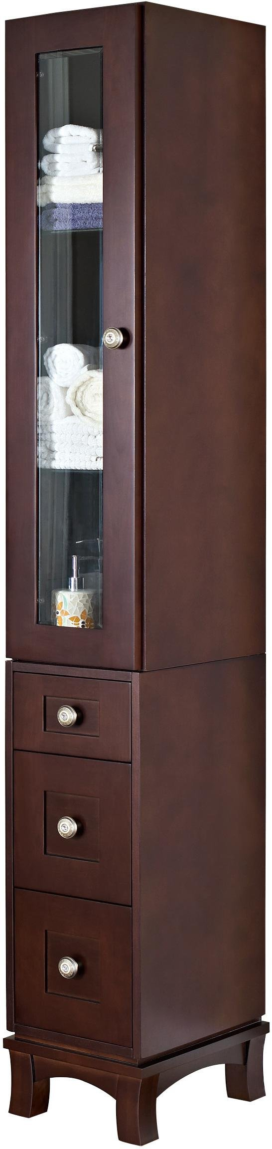 American Imaginations AI-1146 12-in. W Solid Cherry Wood Linen Tower With Soft-close Door And Drawers In Coffee Finish