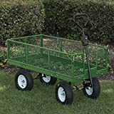 ARKSEN Dump Cart Removable Sides, 2-In-1 Convertible Handle, 1,400-Pound Capacity, 48