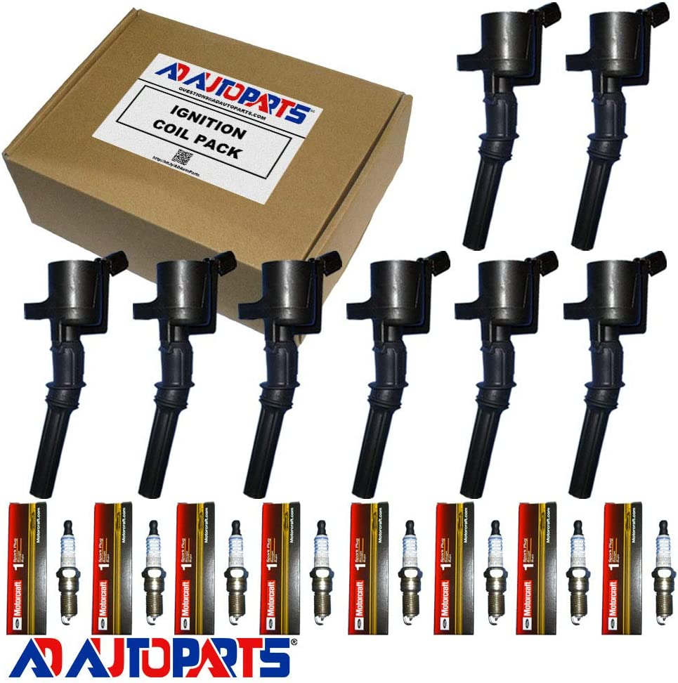 Motorcraft Spark Plugs SP413 and MAS Ignition Coils DG508 For Ford F-150 Mustang V8 4.6L pack of 8