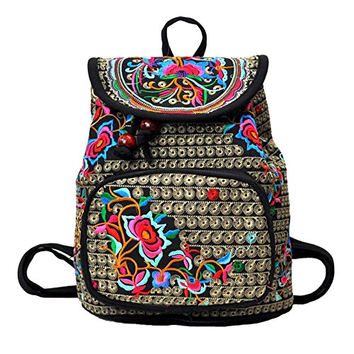 Vanbuy Women's Embroidery Backpack Girls Canvas Handmade Ethnic Style Rucksack Vintage Shoulder Bags Satchel Rucksack (Fairfax 2 Handle)