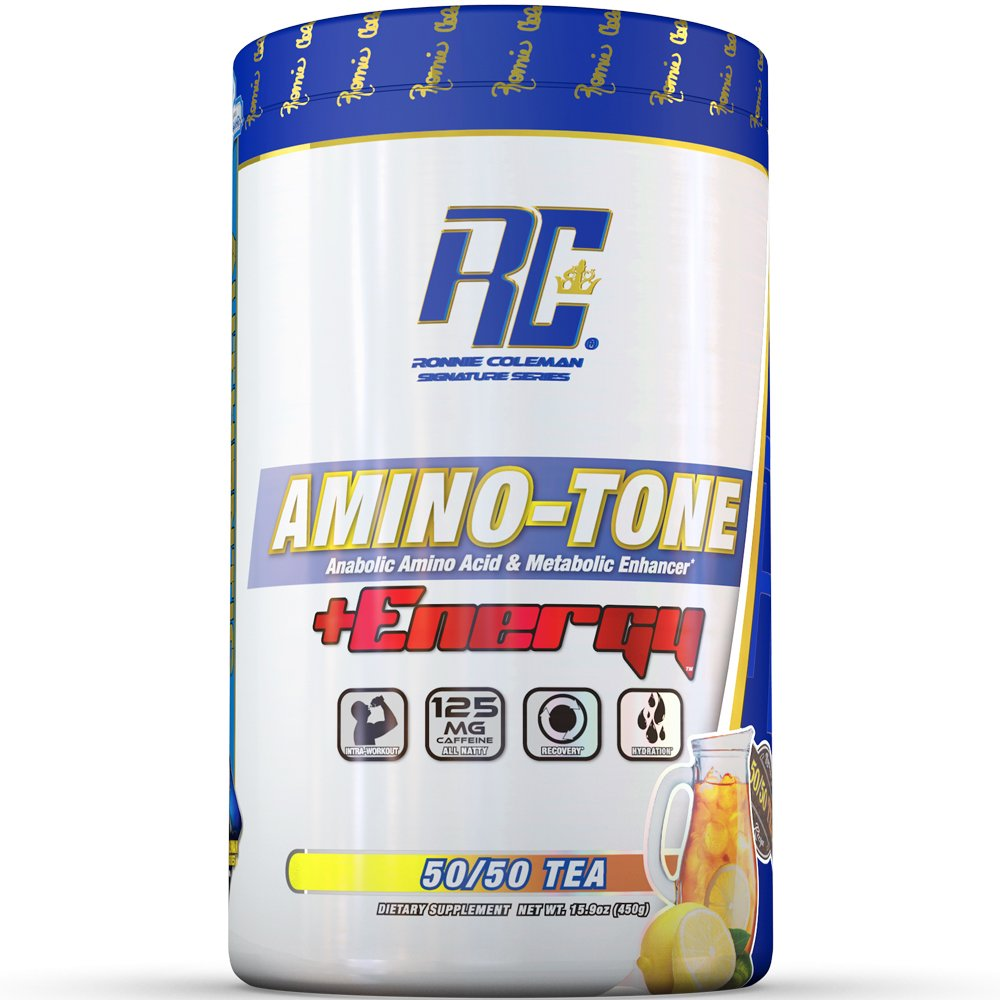Ronnie Coleman Signature Series Amino-Tone Plus Energy Powder, 50 50 Tea, 30 Count