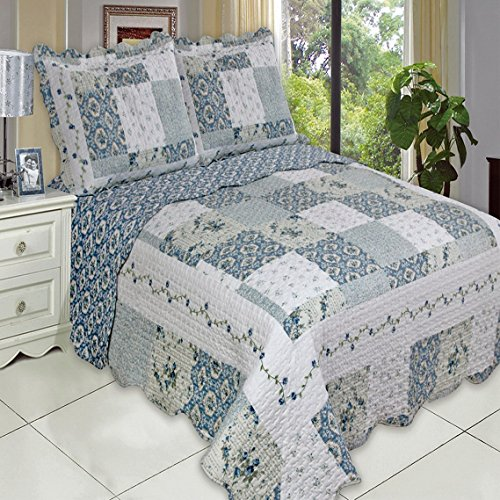 Buy Country Cottage Blue Floral Patchwork Quilt Coverlet