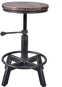 LOKKHAN Vintage Industrial Swivel Stool,Metal Design Wood Top,Counter Height Adjustable,Cast Iron Bar Stool