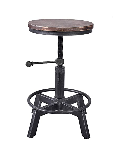 Brilliant Lokkhan Vintage Industrial Swivel Stool Metal Design Wood Top Counter Height Adjustable Cast Iron Bar Stool Machost Co Dining Chair Design Ideas Machostcouk