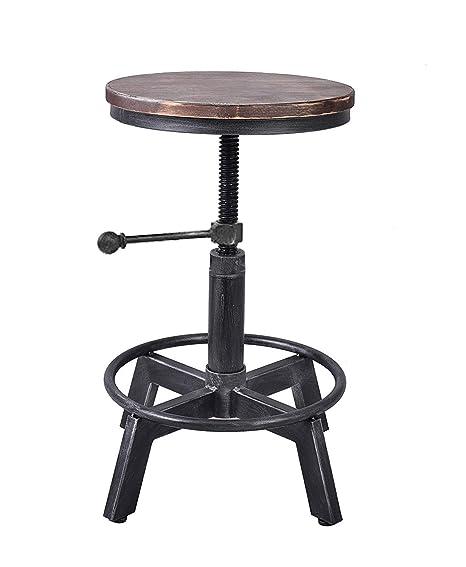 Surprising Lokkhan Vintage Industrial Swivel Stool Metal Design Wood Top Counter Height Adjustable Cast Iron Bar Stool Inzonedesignstudio Interior Chair Design Inzonedesignstudiocom