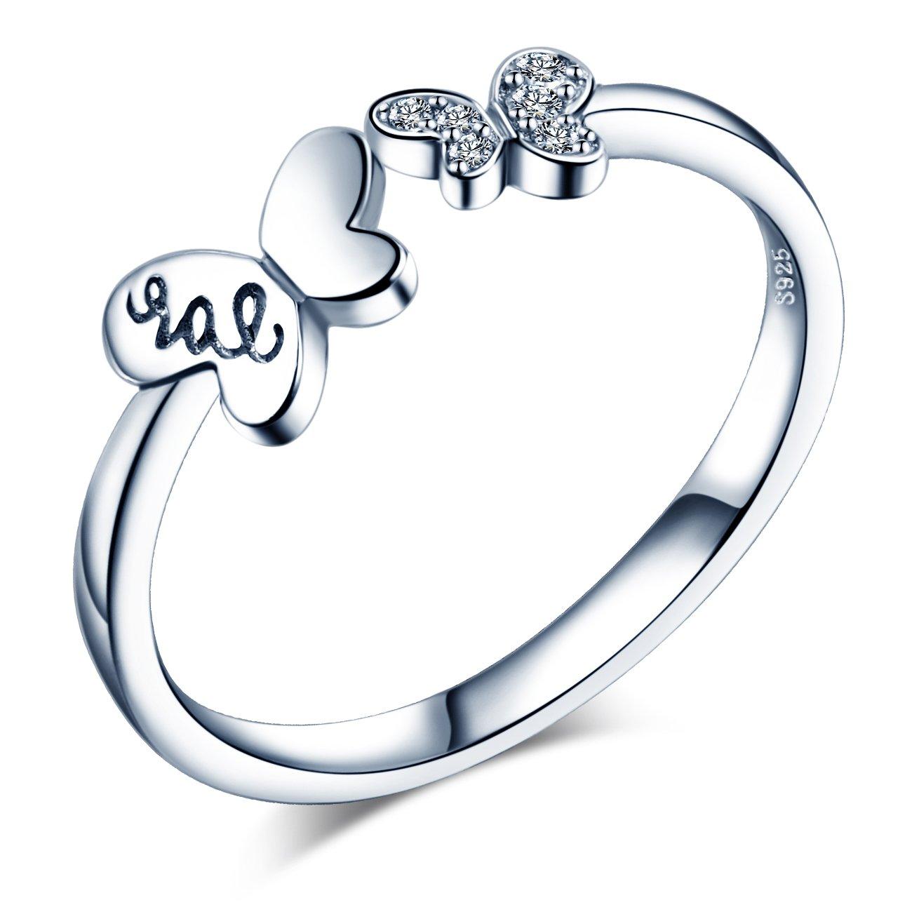 Infinite U - Anillo de apertura de plata de ley 925 con circonita cúbica para mujeres/niñas, tamaño ajustable de 5,5 a 7 Infinite Jewellery R5317