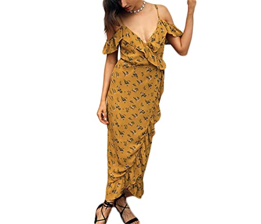 Amazon.com: keliang print floral envoltório babados midi dress mulheres strap v neck dividir beach summer dress sexy assimétrico vestidos vestidos: Clothing