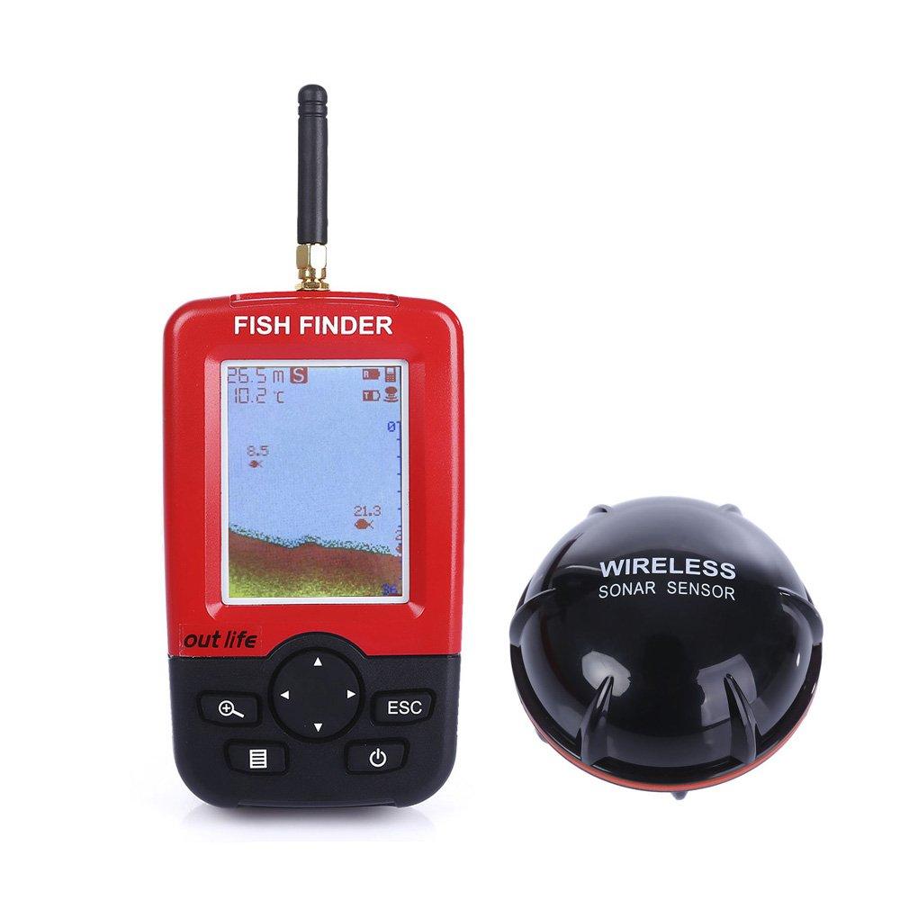 Fish Finder, Wireless & Rechargeable Sonar Sensor Fishfinder, LCD Display Smart Portable Deeper, 100m Dot Matrix 45m Range Colorized by ZEEPIN