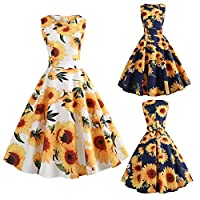 Women A-Line Vintage Floral Sunflower Print Sundress Bodycon Sleeveless Retro Casual Evening Party Prom Swing Summer Dress