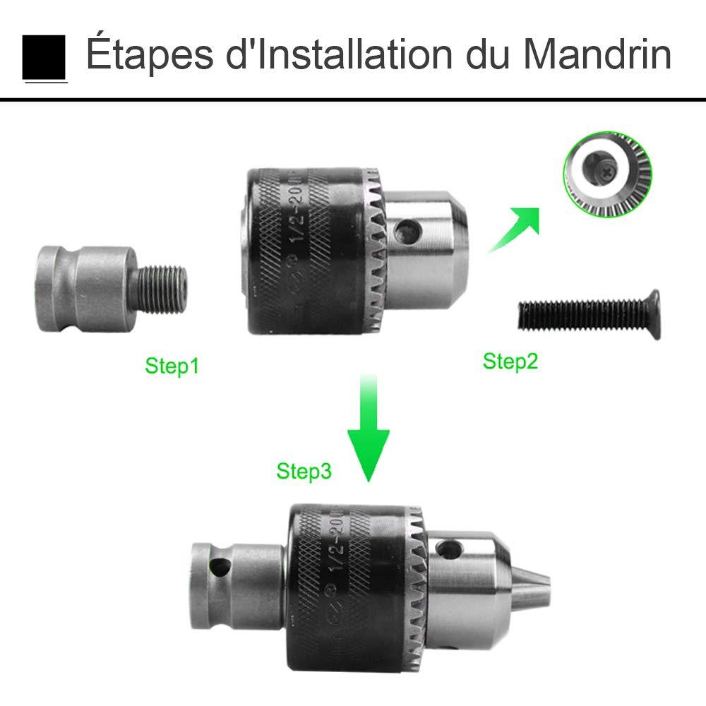 Gasea 1.5-10mm Capacit/é 3//8-24 UNF Mandrin /à Cl/é Mountage Avec 1//2 Carr/é Prise Femelle Adaptateur