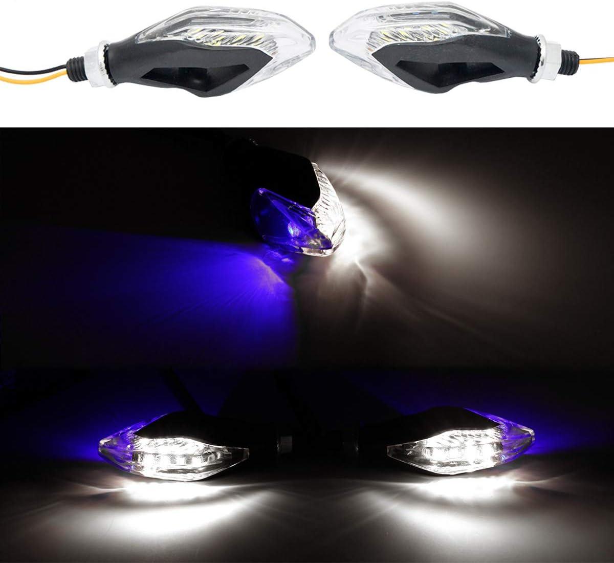 Off-Road Universel Yamaha Blanc MASO Lot de 2 Clignotants LED pour Moto Suzuki pour Moto 12 V Scooter Bleu