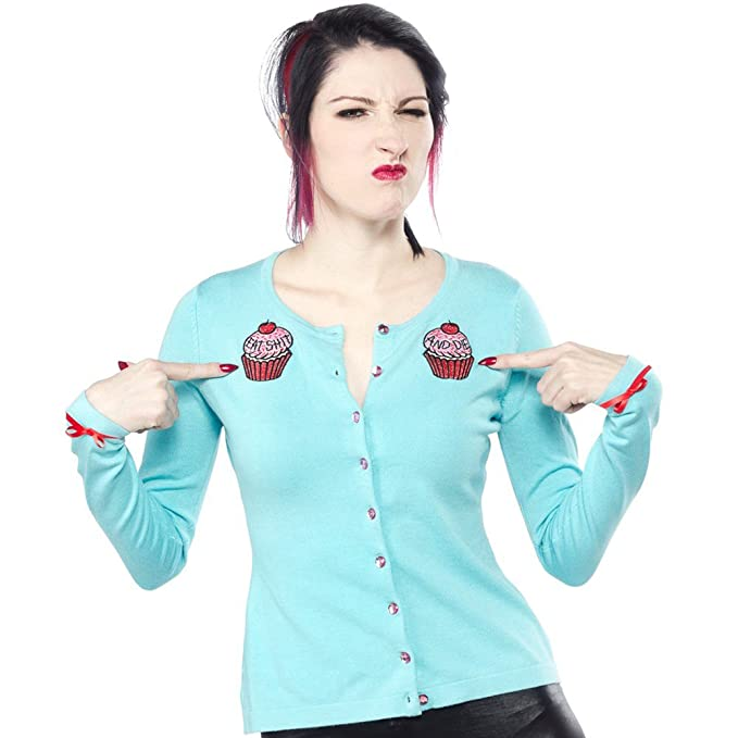 1950s Sweaters, 50s Cardigans, Twin Sweater Sets Womens Sourpuss Have a Cupcake Cardigan Turquoise $45.99 AT vintagedancer.com