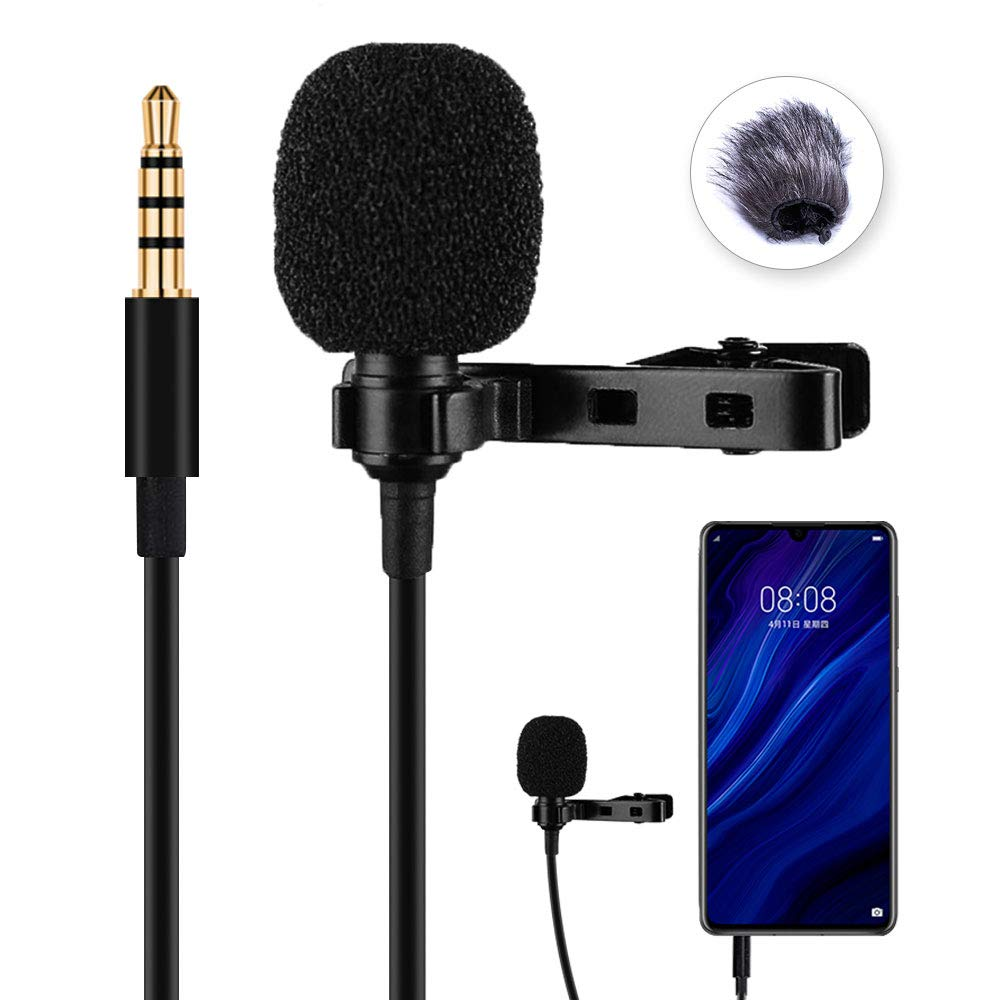 Lavalier Lapel Microphone, YC-LM10 Omnidirectional Microphone 3.5MM for Audio Video Recording, Interviews, Video Recordings, etc. by YICHUANG