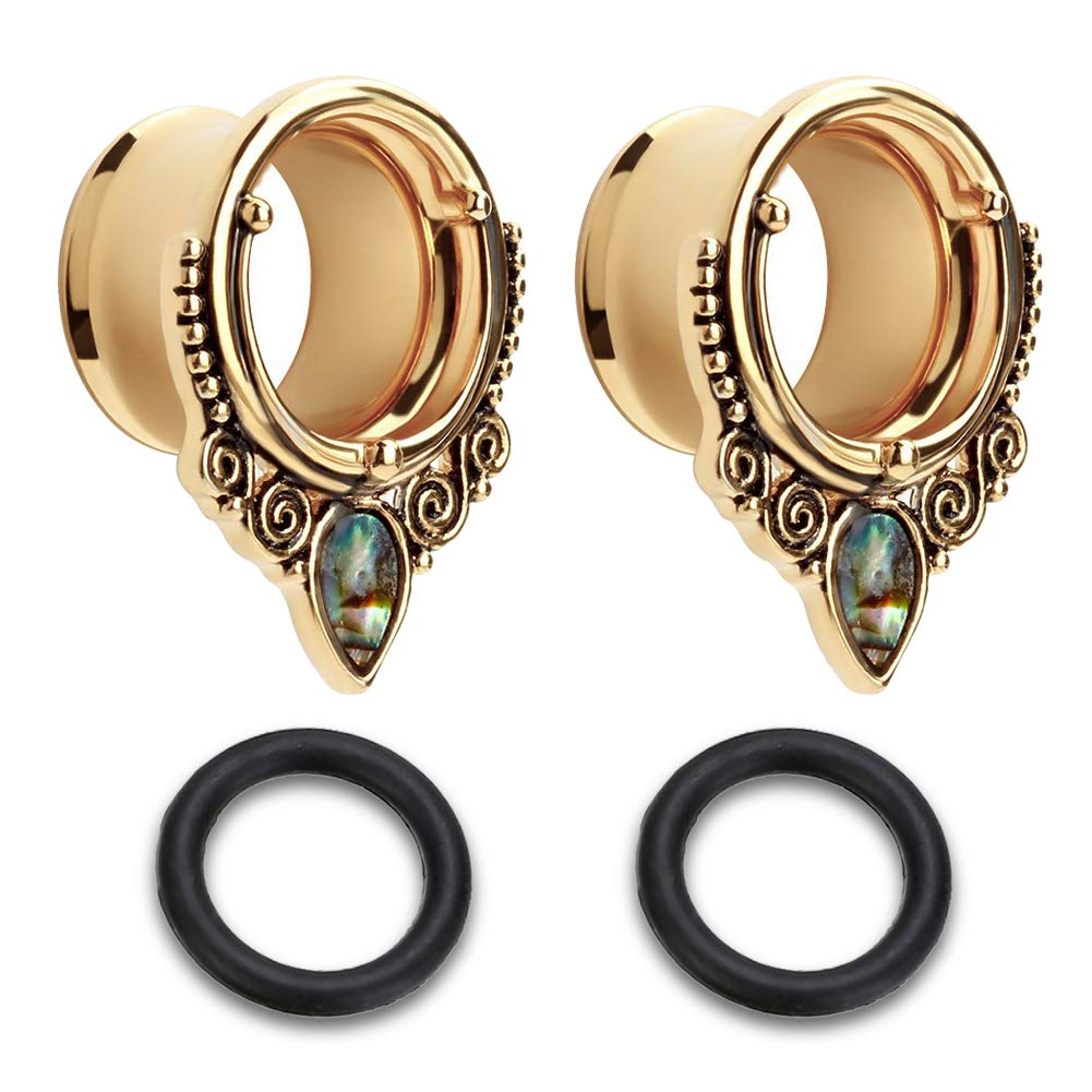 Briana Williams Sea-Shell Stainless Steel 2G-25mm Gauges for Ears Double Flare Ear Tunnels Expander Plugs Stretcher w Double Rubber O-Ring
