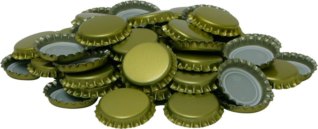 Crown Caps Gold Ungest Cut 26 mm Pack of 1000 KA26 New To Beer Pint Beer Kit Biowin