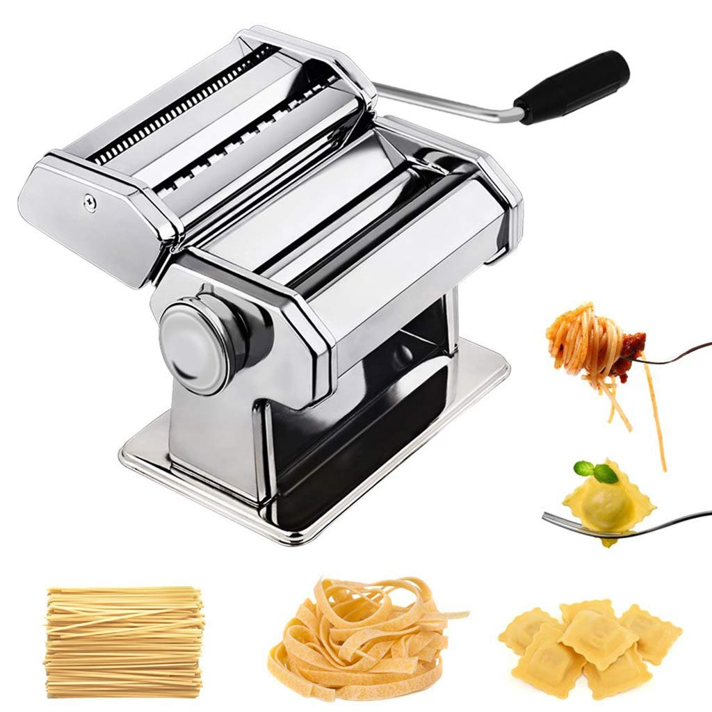 WXCCK Stainless Steel Professional Fresh Pasta Lasagne Spaghetti 6 Adjustable Thickness Settings Heat-Treated Gears for Long Life by WXCCK
