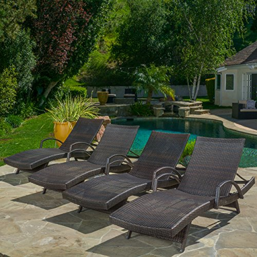 (Set of 4) Olivia Outdoor Brown Wicker Armed Chaise Lounge Chair