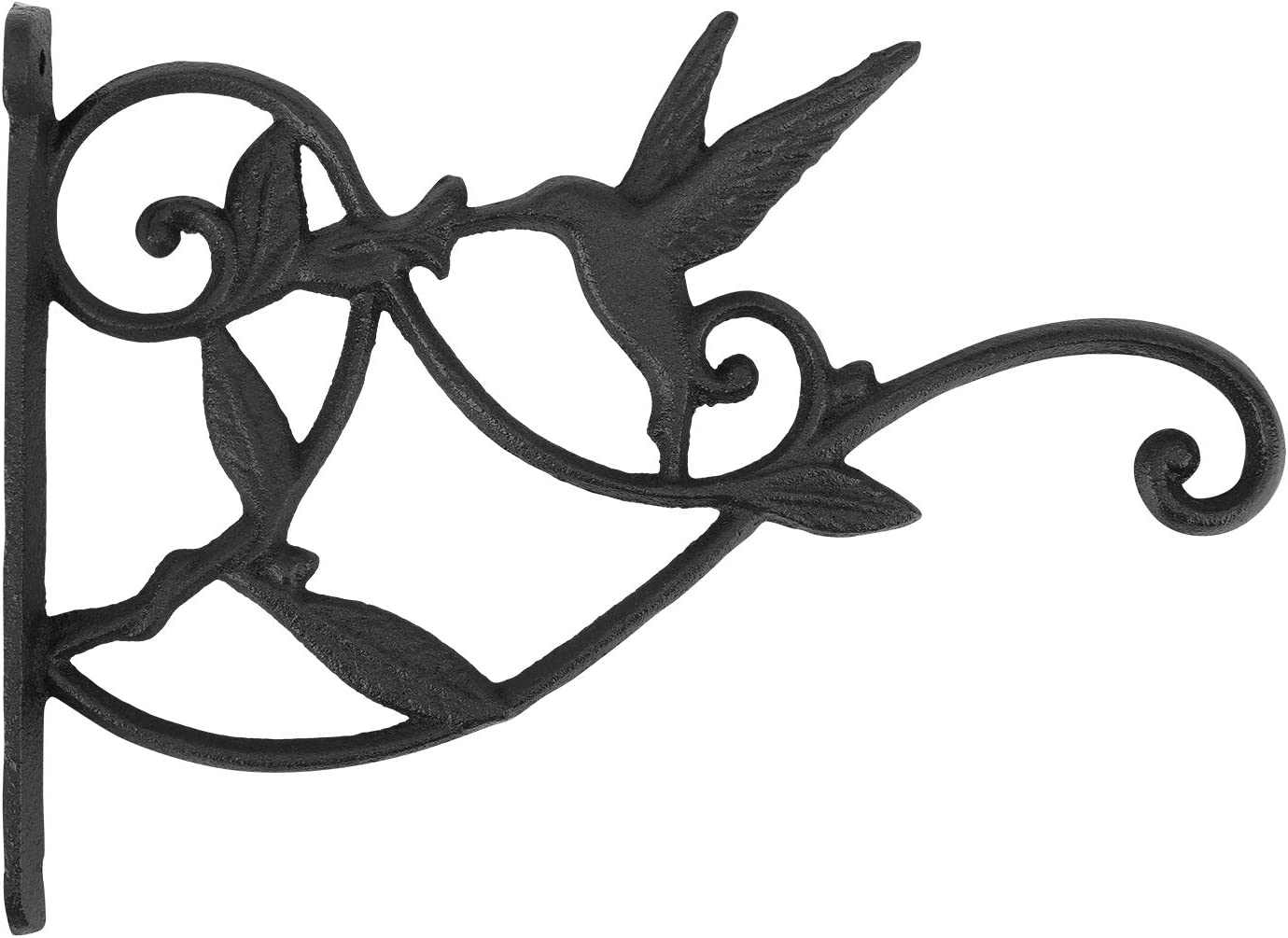 Lewondr Wall Hanging Plant Bracket, 10 Inch Retro Outdoor Indoor Garden Hook Décor Wrought Iron Decorative Plant Brackets with Screws for Balcony Bird Feeder Wind Chime Lantern, Humming Bird - Rust