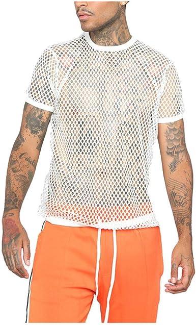Mxjeeio- Chaleco Camiseta de Malla Hombre Lencería Erótica Fishnet Transparente Casual de Manga Corta sin Mangas Top Apretada Muscular Traje de Fiesta Clubwear Top Deportivos para Hombres: Amazon.es: Ropa y accesorios