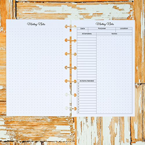 Discbound Meeting Notes Planner Inserts | For use with Happy Planner Mini by Jane's Agenda