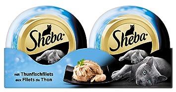 Sheba Katzenfutter Feine Filets für ausgewachsene Katzen, saftige Filets  mit Thunfisch, 1er Pack (