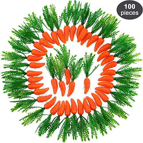(Zonon Easter Carrots Mini Plastic Artificial Carrot Ornaments for DIY Crafts Home Kitchen Party Decorations (100)