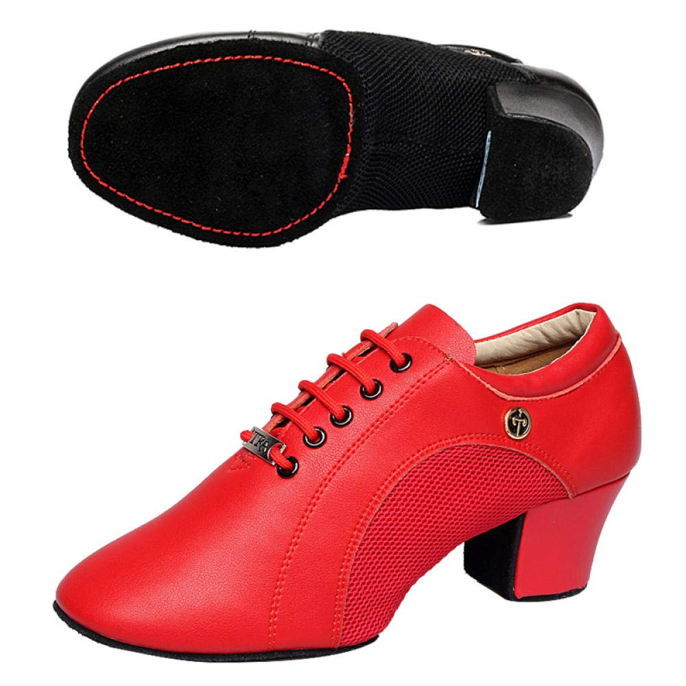Rouge Chaussures De Danse Femme,Cuir Souple Fond Chaussures De Griffe De Chat Chaussures De Professeur avec Chaussures De Ballet Dames Adultes Chaussures De Danse Latine Jazz Ballroom 41 EU